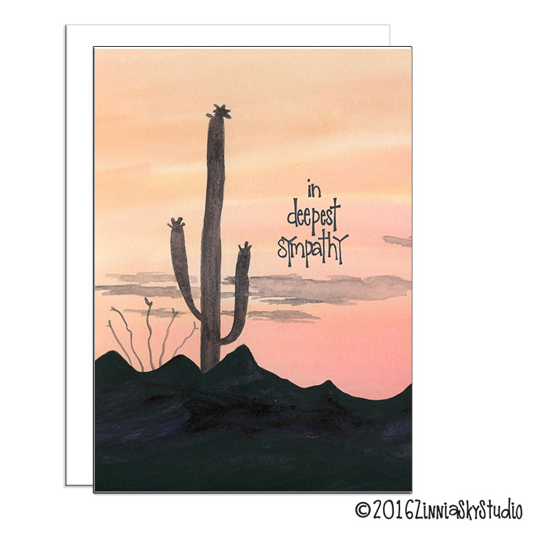 southwest desert sunset Sympathy Card