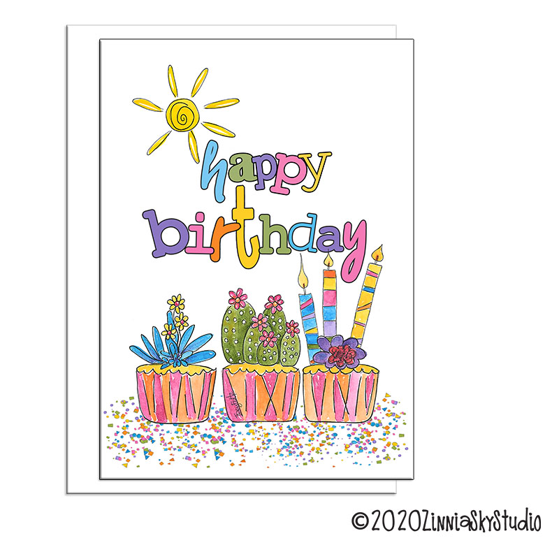 succulent cupcakes birthday card