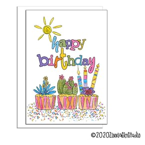 birthday succulents cupcakes birthday card
