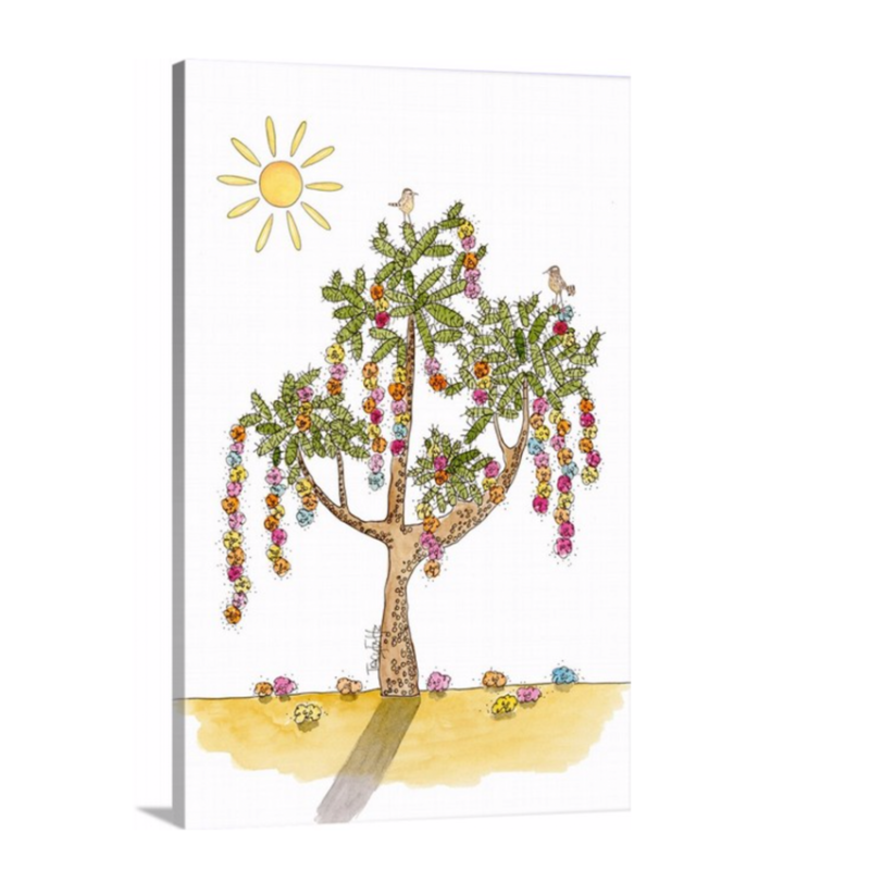 cholla cactus flowers canvas