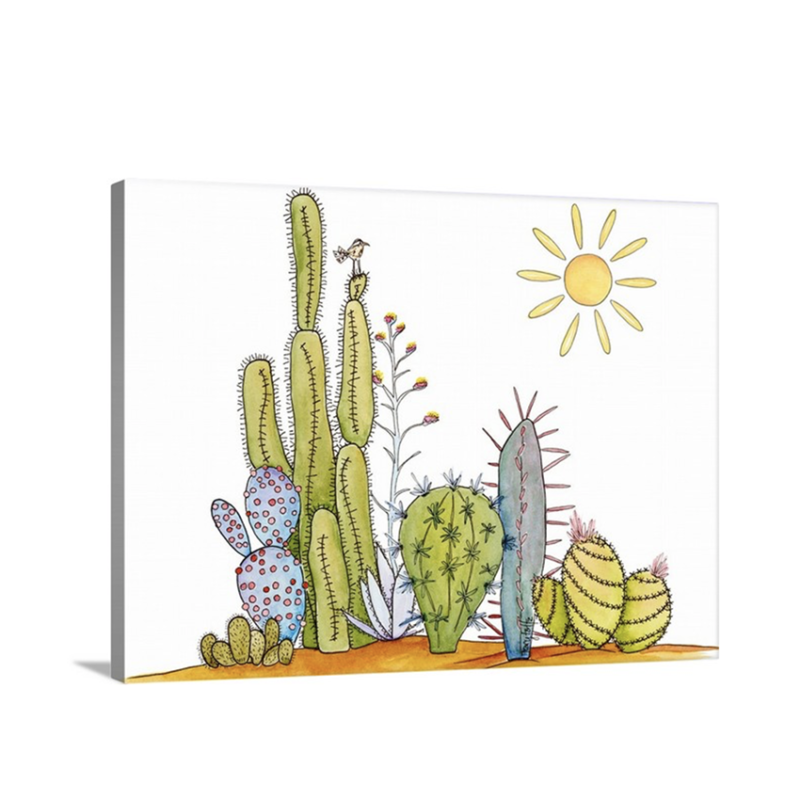 cactus and a bird canvas