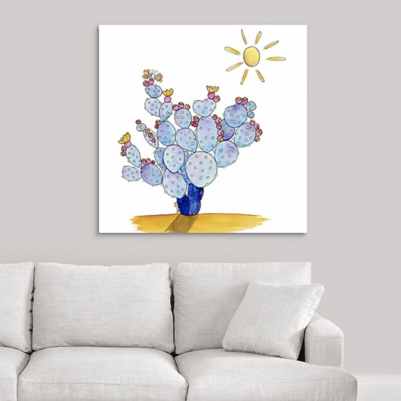 butterflies and prickly pear blue canvas.