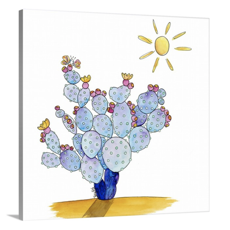butterflies and prickly pear blue canvas