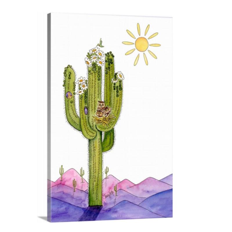 saguaro cactus owl nest canvas
