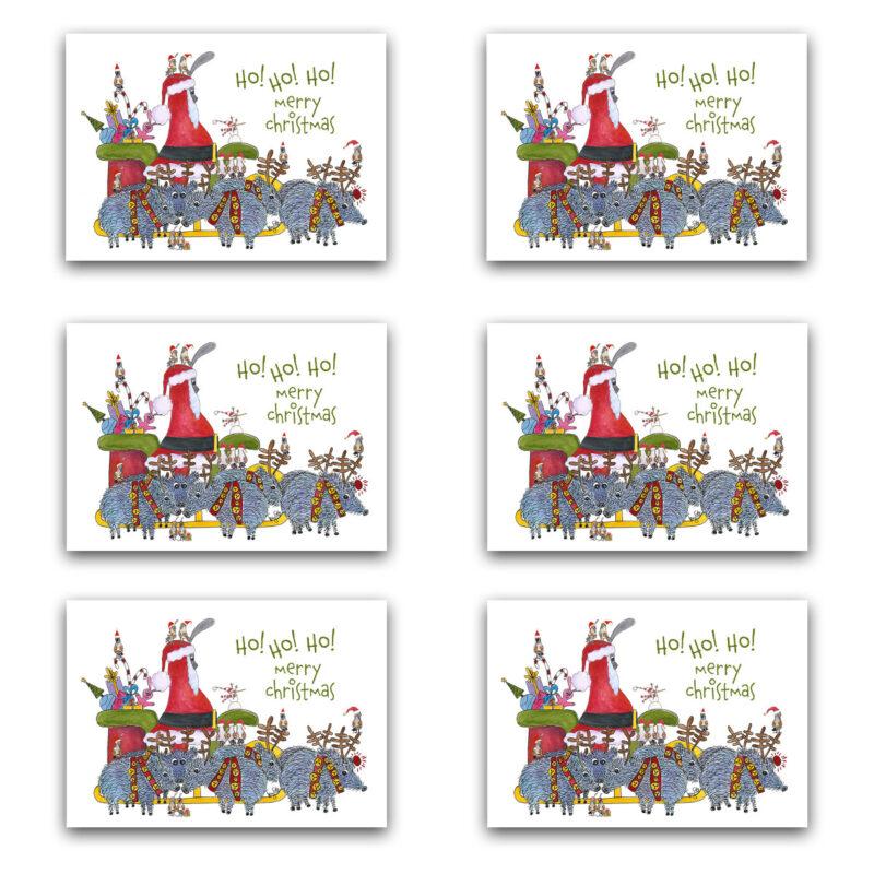bird Santa pig reindeer card box set
