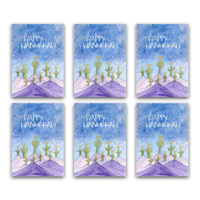 Hanukkah cactus menorahs southwest Hanukkah card box set