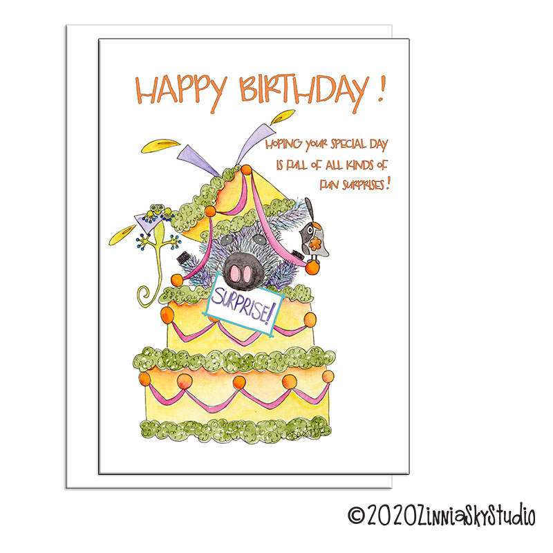 birthday surprise javelina pig card