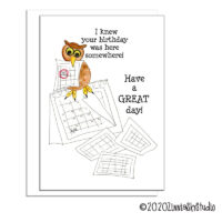 birthday owl calendar birthday card