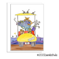 golf cart animals blank card