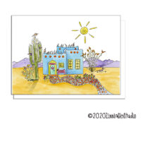 desert home blue blank card