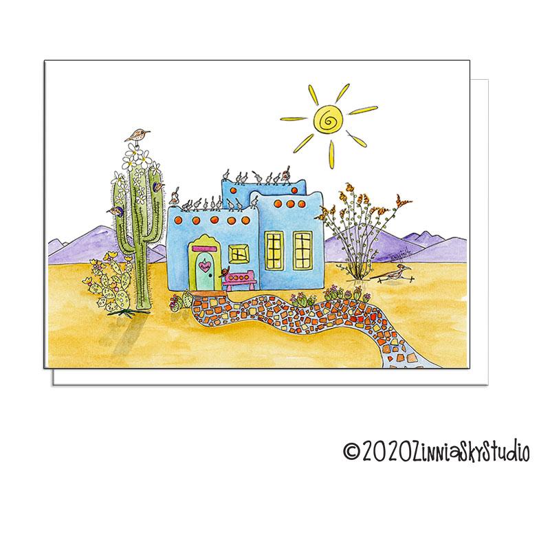 desert home blue blank card