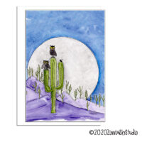 owls in the moonlight blank card