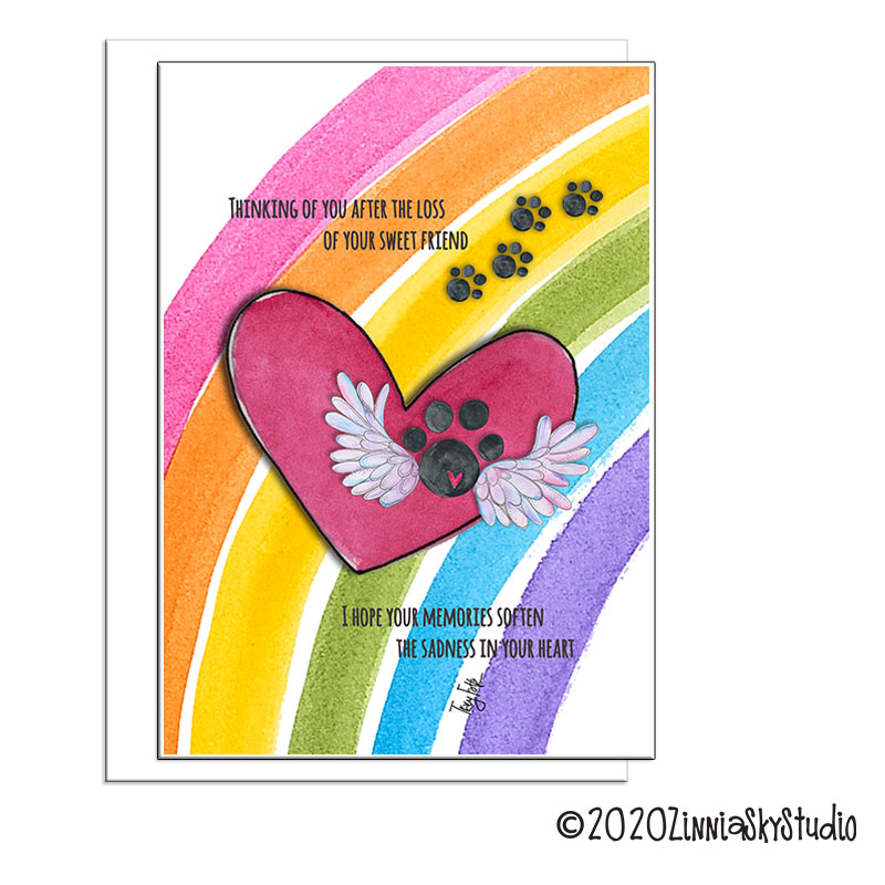 paw print rainbow pet sympathy card