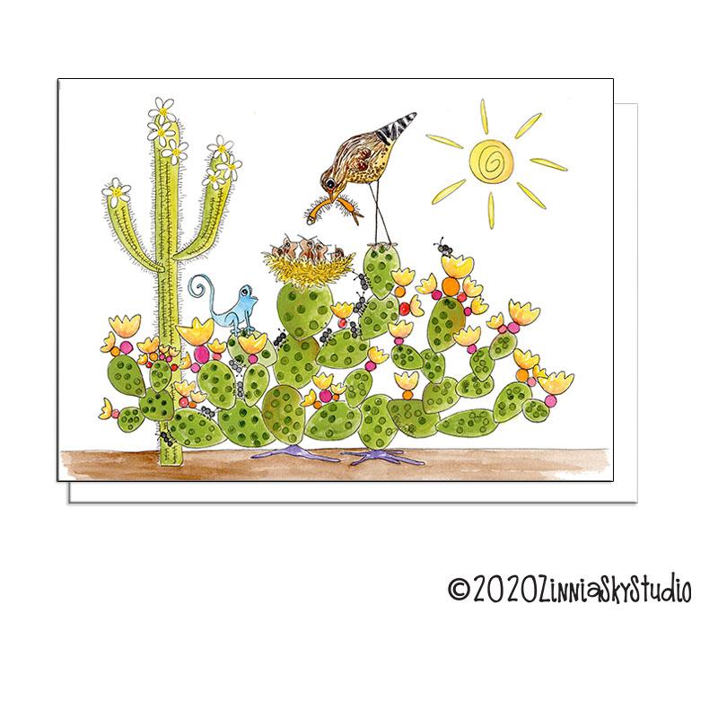cactus bird nest blank card