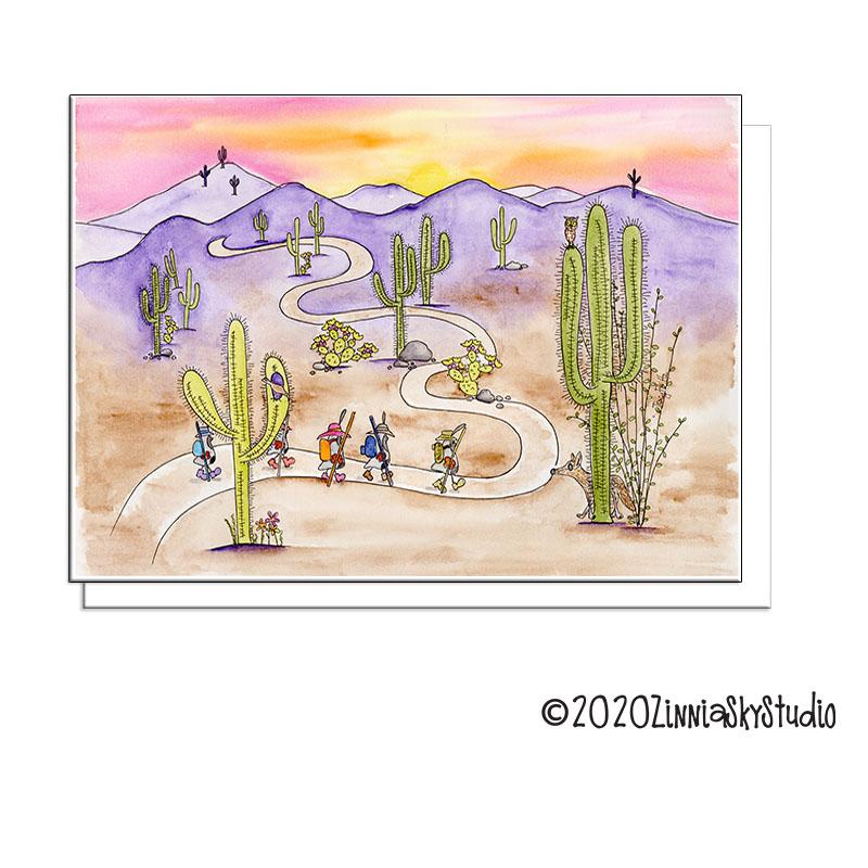 desert hikers blank card