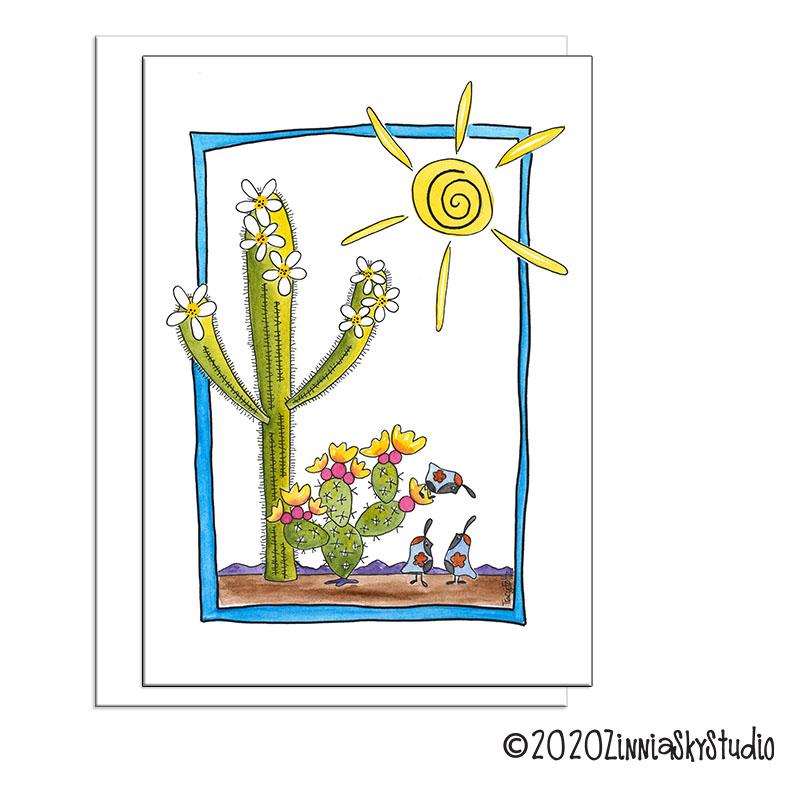 cactus framed blank card