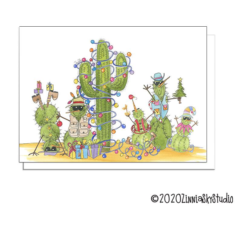 southwest snowmen cactus christmas card