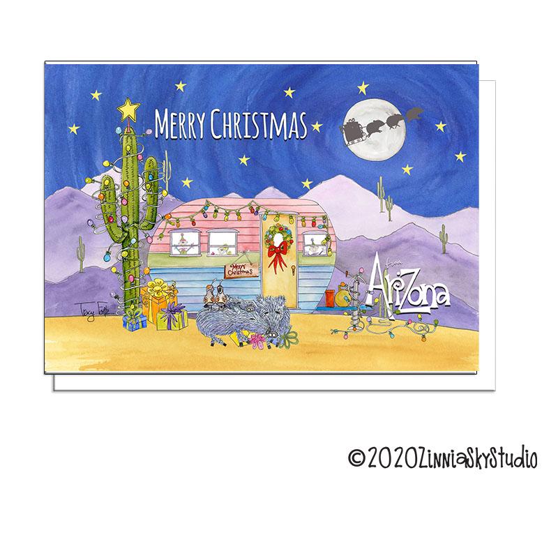 vintage camper desert Christmas card