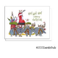 Christmas bird Santa pig reindeer card
