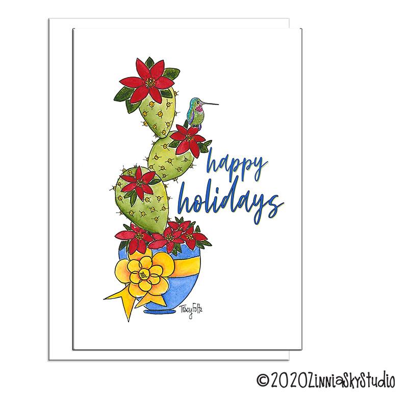 hummingbird cactus flowers holidays card