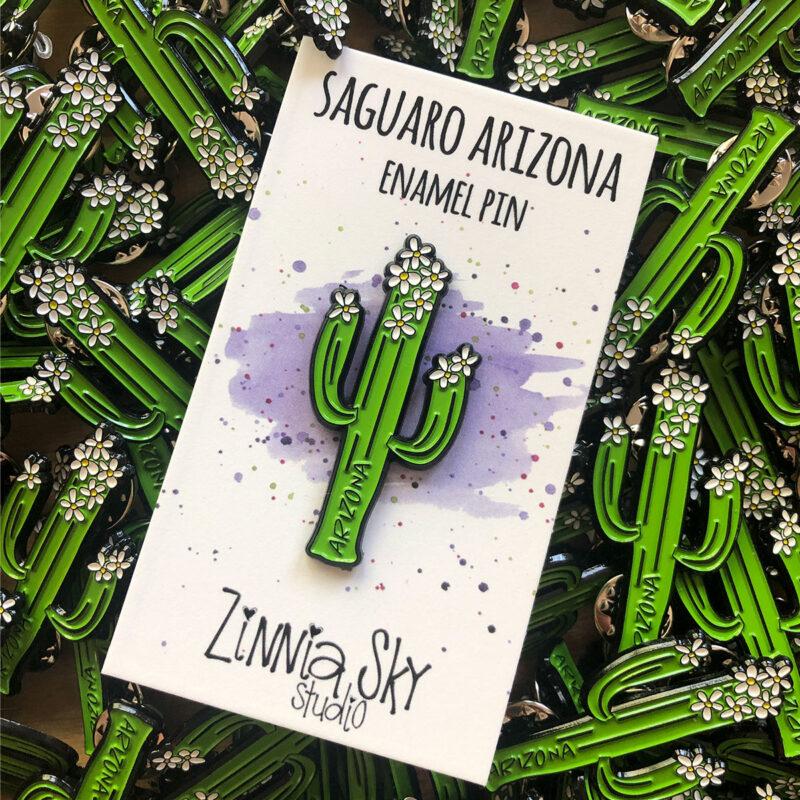 cactus flowers enamel pin