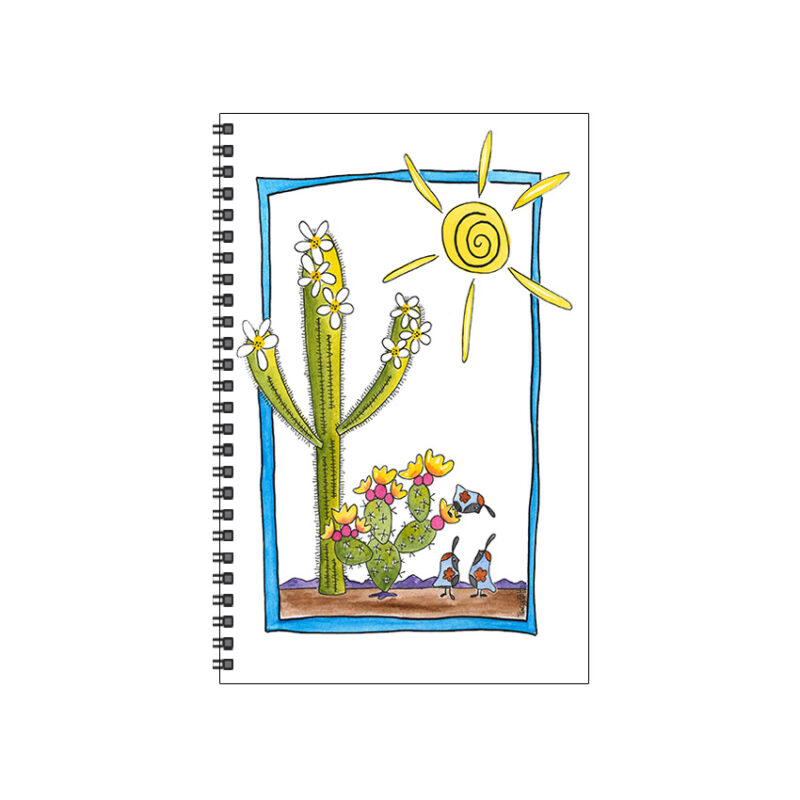 journal whimsical cactus framed