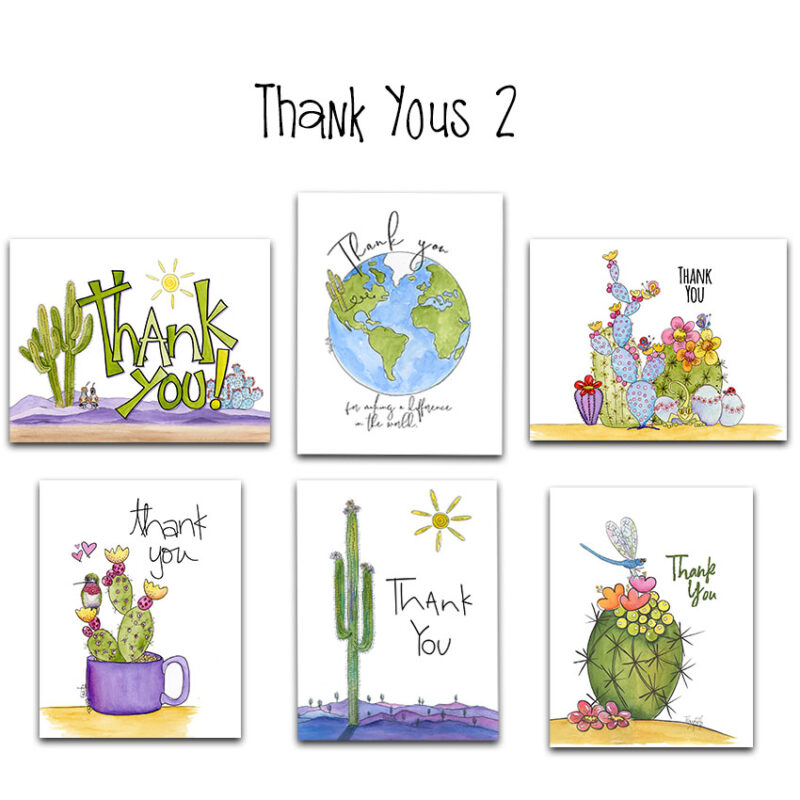 thank you 2 note card set