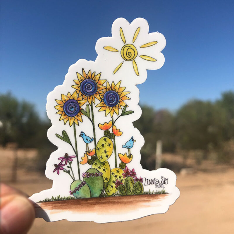 sunshine succulents vinyl sticker