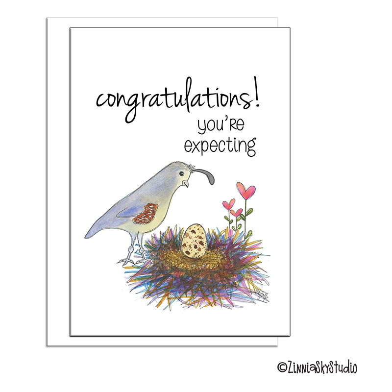 southwest mama quail expecting card