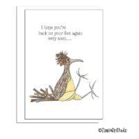 road runner bird get well card
