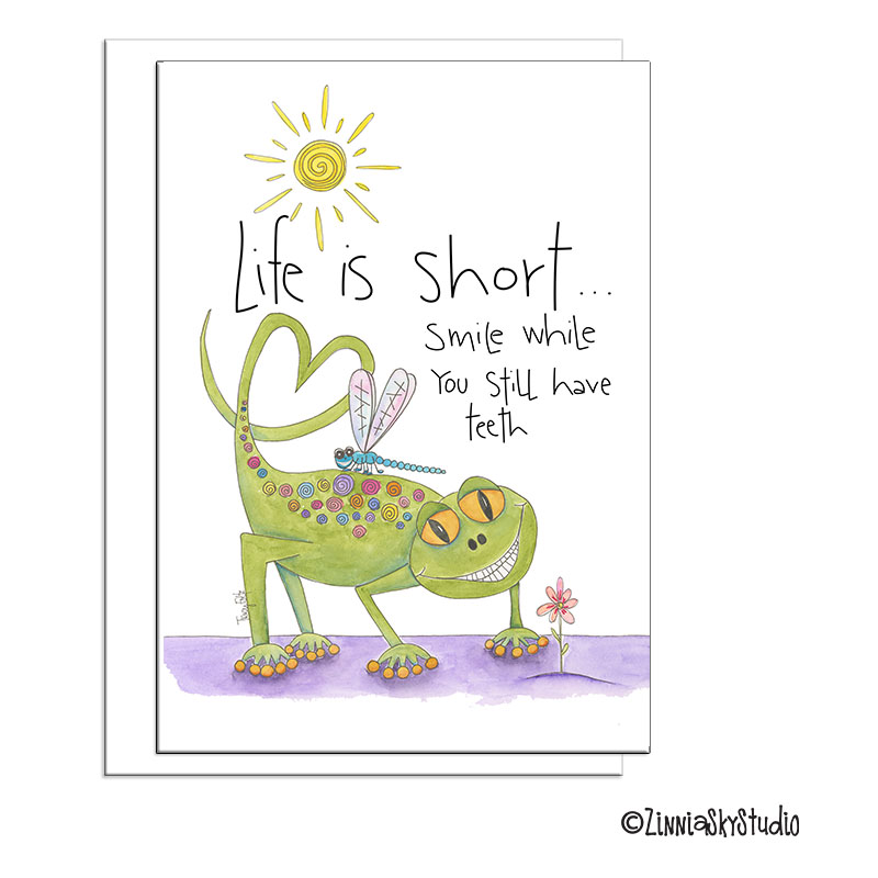 smile while you can lizard blank card