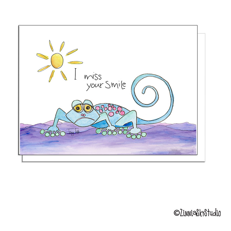 Lizard smile miss you card