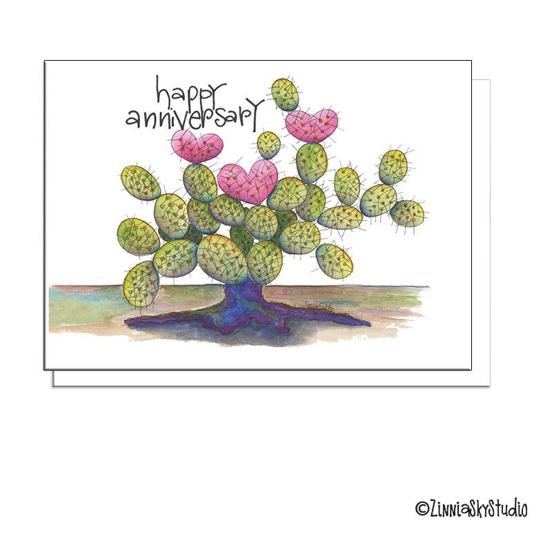 anniversary cactus heart card