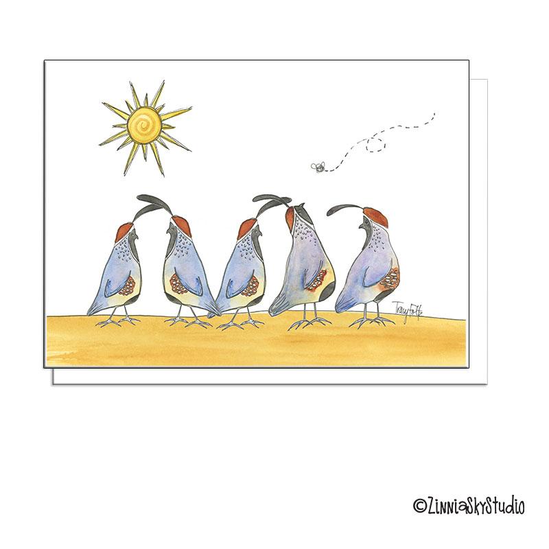 southwest desert quail + fly card