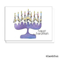 southwest quail menorah Hanukkah card