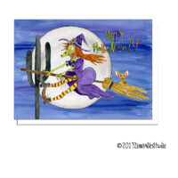 halloween witch moon southwest greeting card