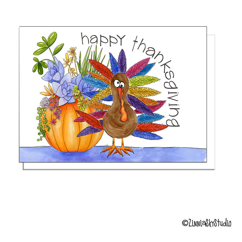 thanksgiving turkey succulents greeting card