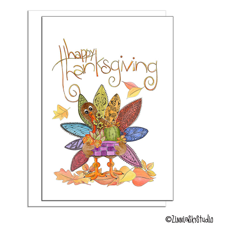 thanksgiving turkey succulent basket greeting card