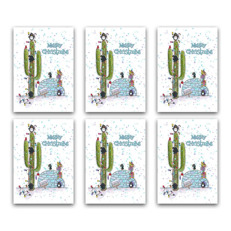 Southwest Penguins Igloo Christmas Note Card Set