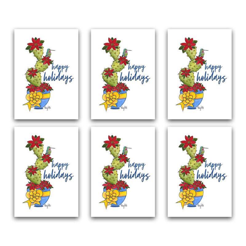 southwest cactus hummingbird holiday note card set