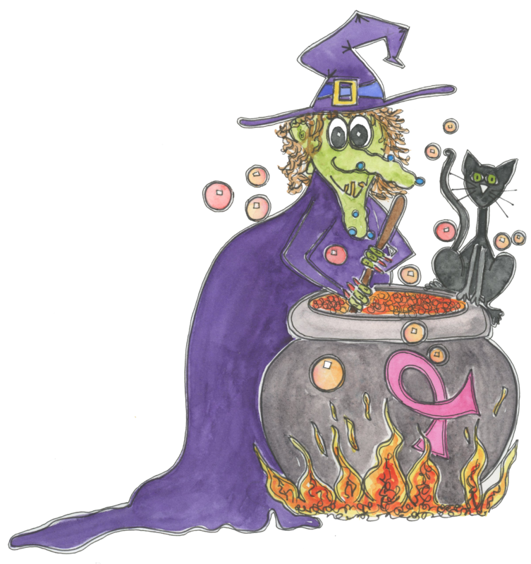 witch with cat and cauldron