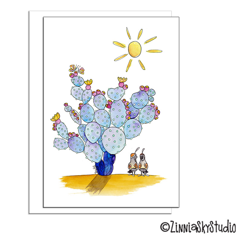 succulent prickly pear blue blank card