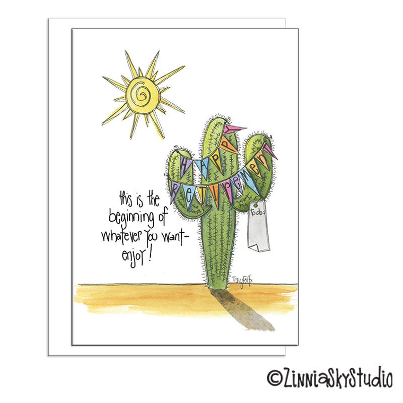 southwest cactus retirement card