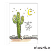southwest cactus moon & stars blank card