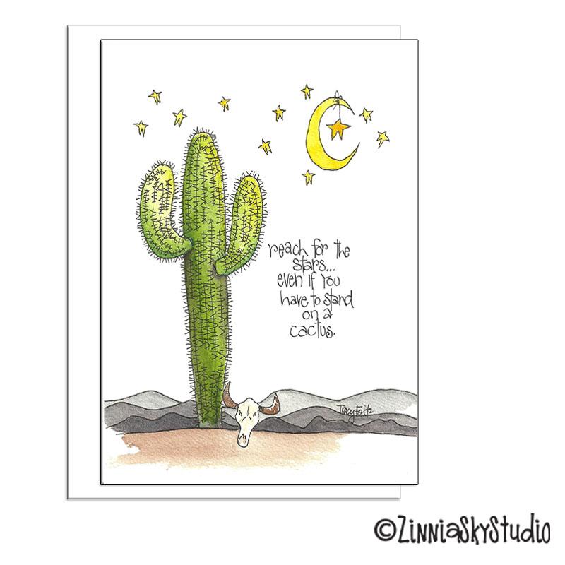 southwest cactus moon & stars blank card