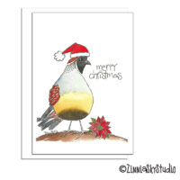 southwest Santa quail christmas card