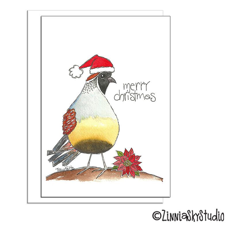 southwest Santa quail christmas card