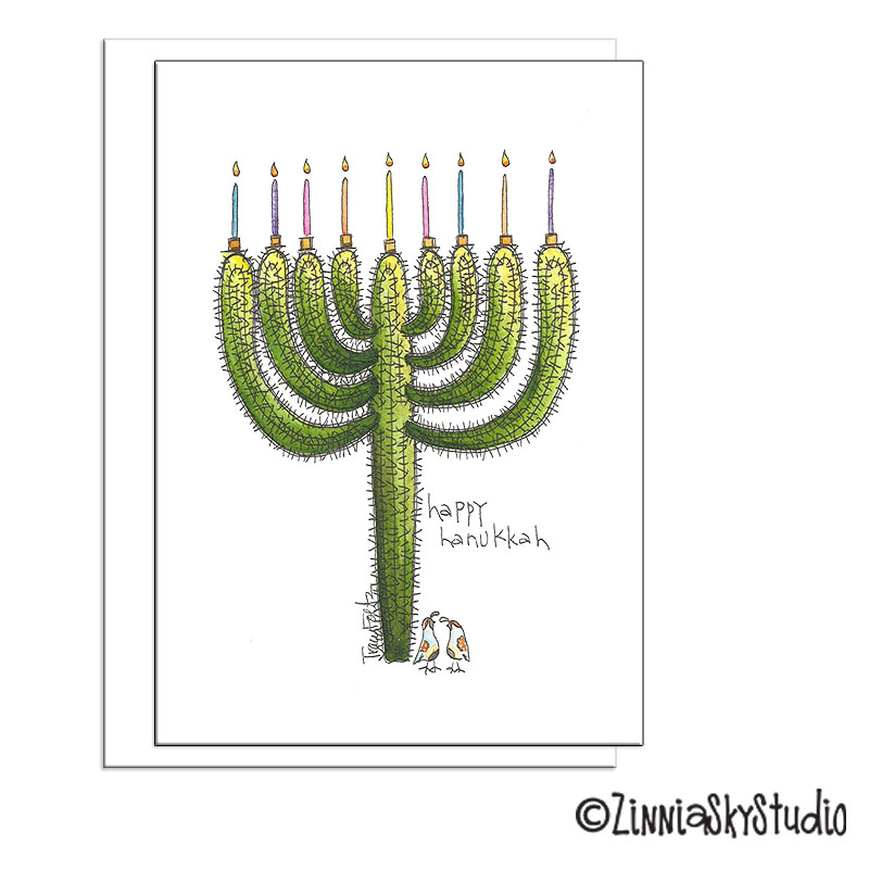 southwest cactus menorah Hanukkah card
