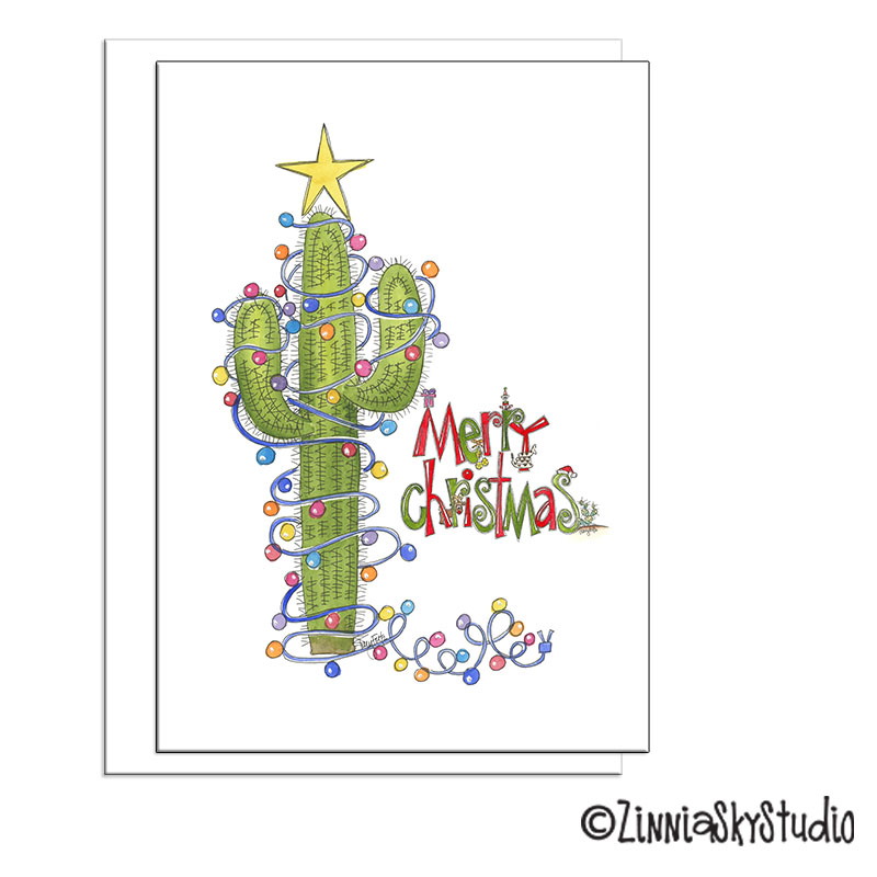 southwest cactus lights christmas card