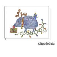 southwest javelina reindeer christmas card
